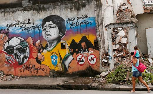 Graffiti wall, woman and child