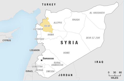 map syria idlib