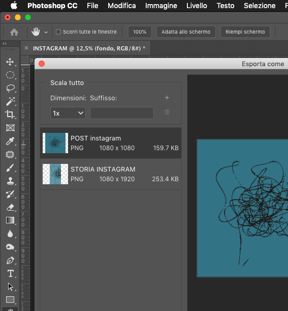photoshop esporta tavole da disegno