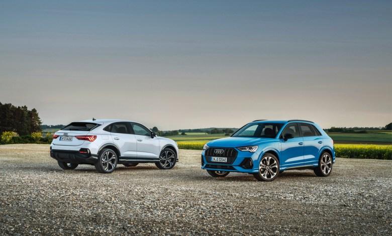 Audi Q3 Sportback 45 TFSI e Static photo, Colour: Glacier white Audi Q3 45 TFSI e Static photo, Colour: Turbo blue