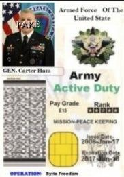 Fake Identity Card with stolen image from Gen. Carter Ham (Retired) abused by Scammers