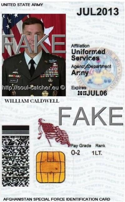 Fake Identity Card with stolen image from Lt. Gen. William B. Caldwell (Retired) abused by Scammers