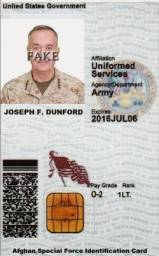 General Joseph F Dunford JR Identity Card-2