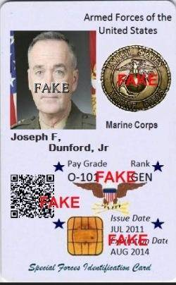 General Joseph F Dunford JR Identity Card-3