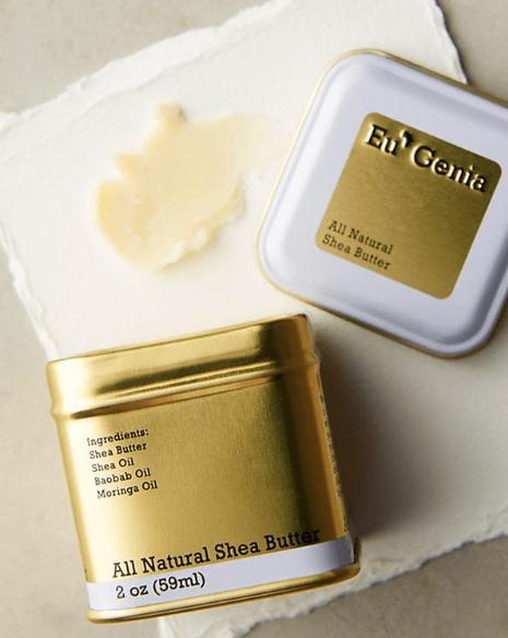 Eu'genia natural shea butter in a gold tin