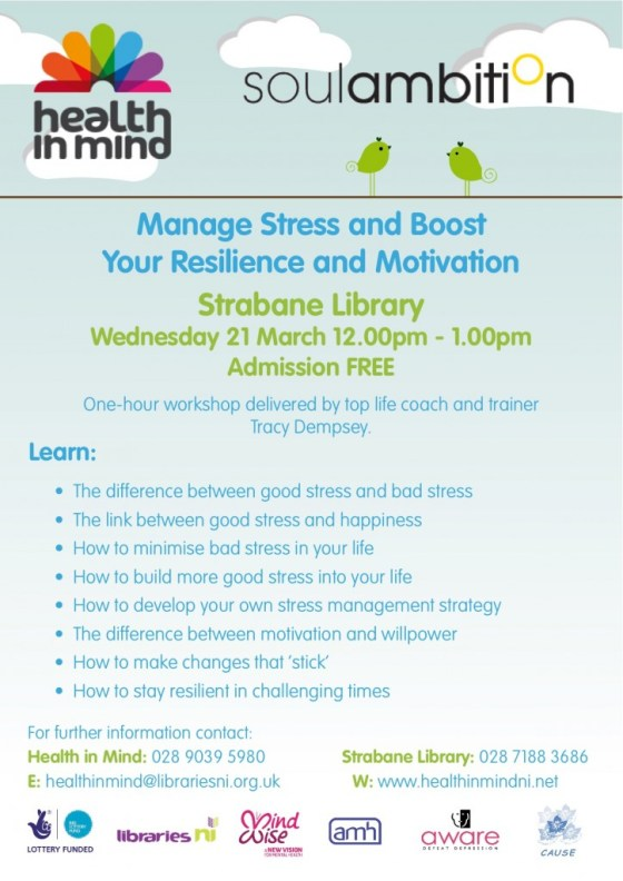 Event Poster: Manage Stress and Boost Your Resilience and Motivation (with Tracy Dempsey of Soul Ambition)