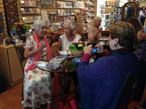 Brigitte Moore talks with friends about the writing process