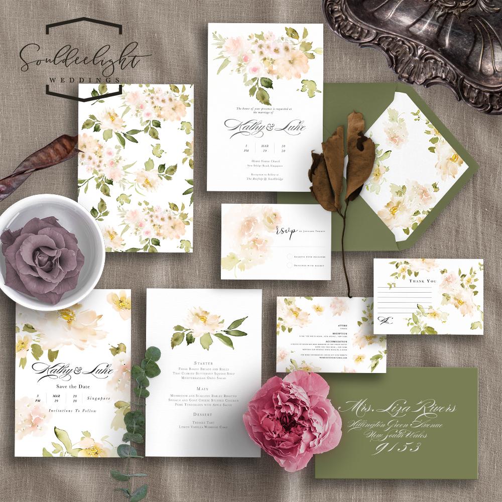 semi custom wedding invitation