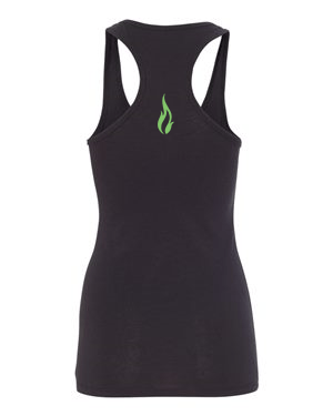 Soul Fuel Womens Racerback Black Tank Green Flame BACK