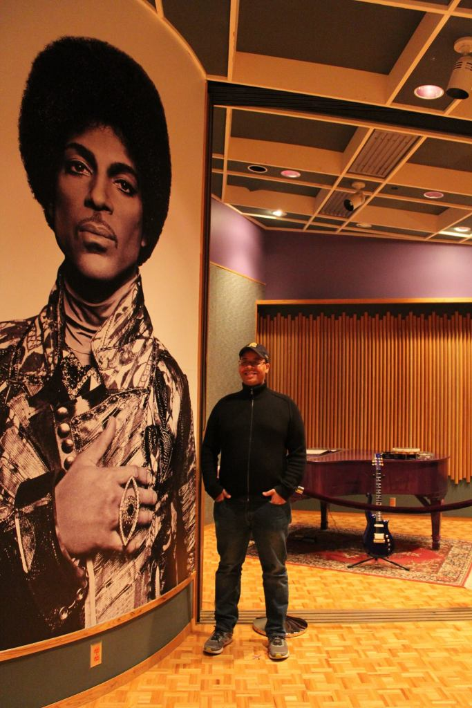 soulhead Founder, Ron Worthy, with Paisley Park Studio B photo of Prince.
