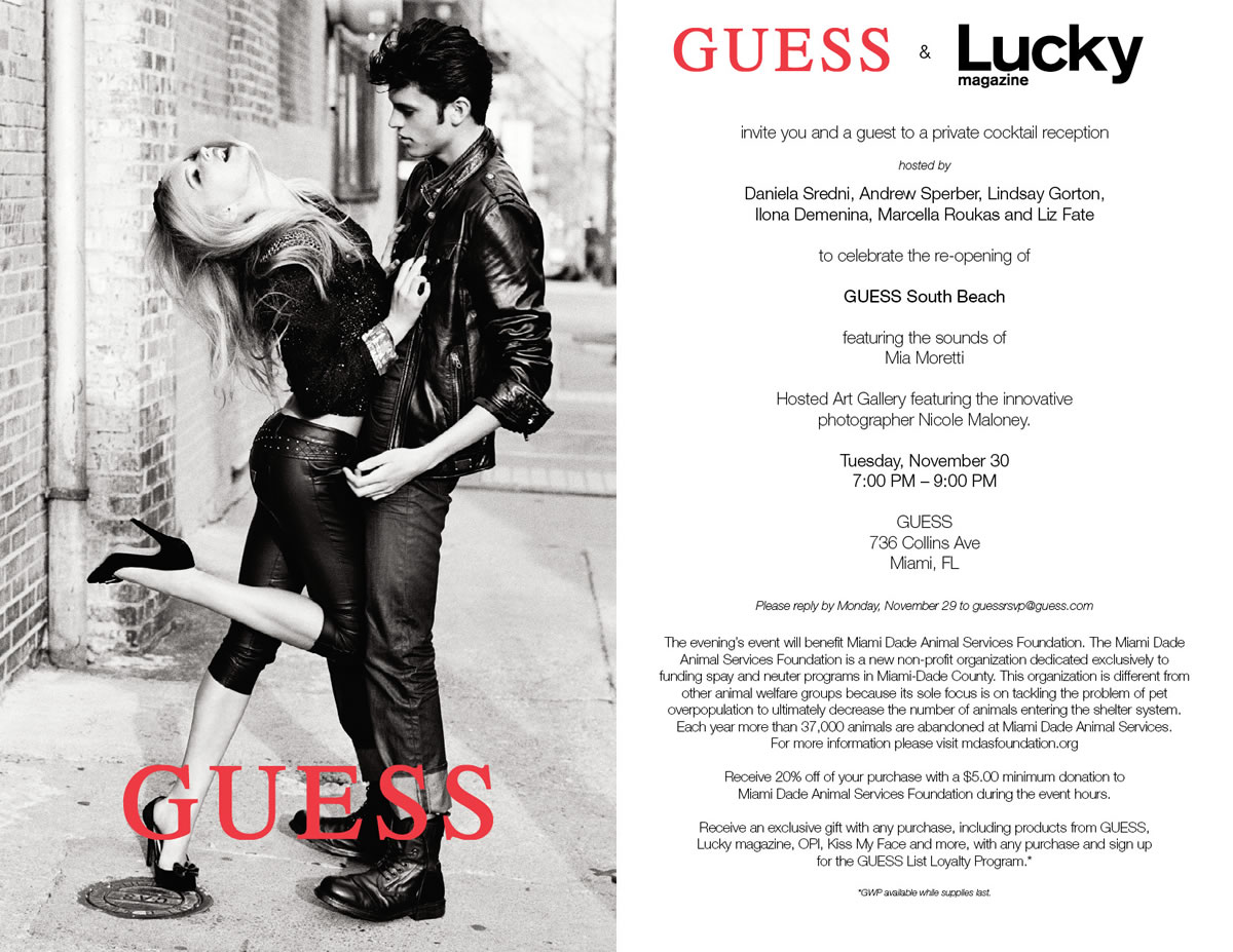 guess and lucky magazine come together for flagship store re opening