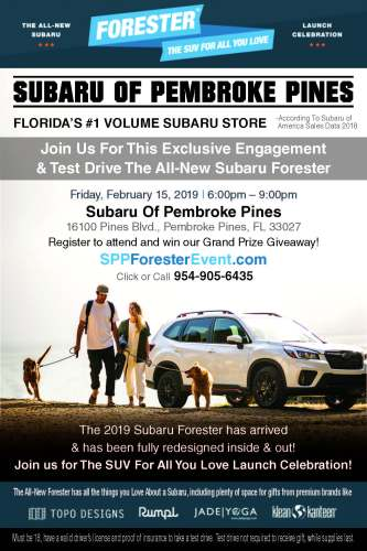 Subaru Of Pembroke Pines >> Subaru Of Pembroke Pines 2019 Forester Launch Event 2 15 19 The