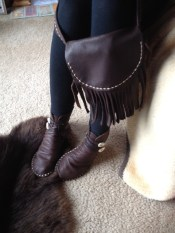 Buffalo Hide Moccasin with matching possible bag.