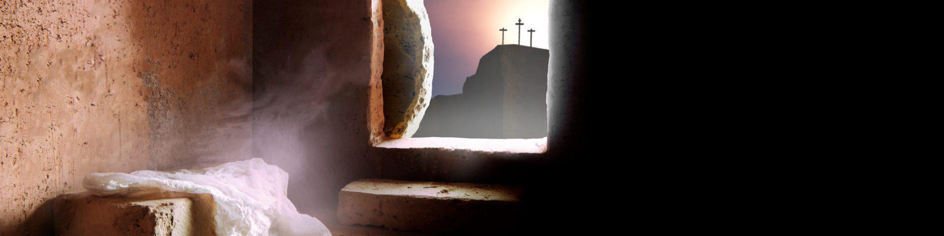 3 crosses, 1 empty tomb