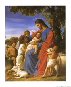 Jesus holds children