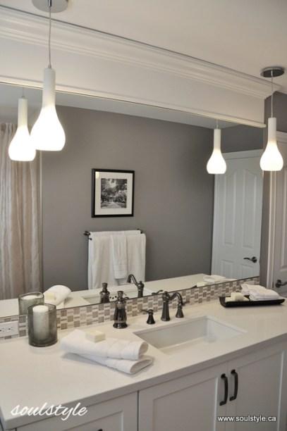Header moulding above mirror - bathroom design