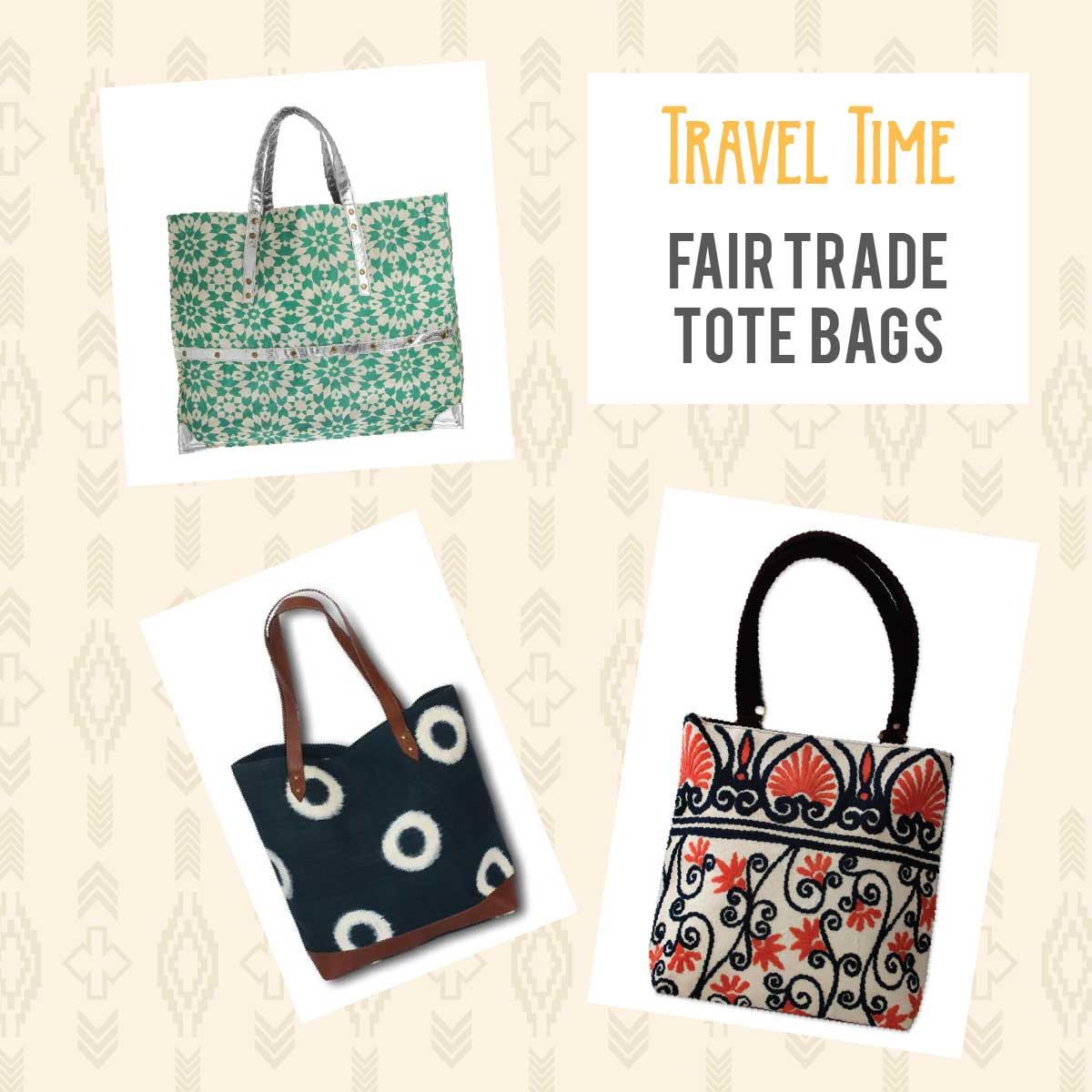 Elegant fair trade tote bags for travel
