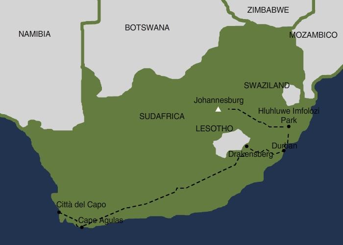 Mappa Sudafrica