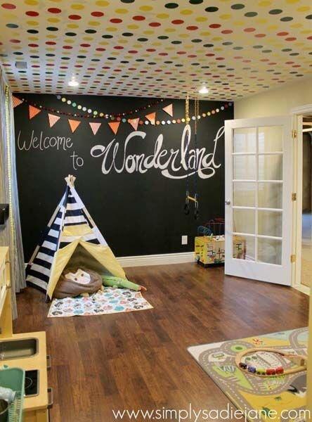 quarto infantil parede de lousa cabana