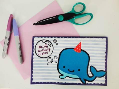 cartão de aniversário caseiro baleia