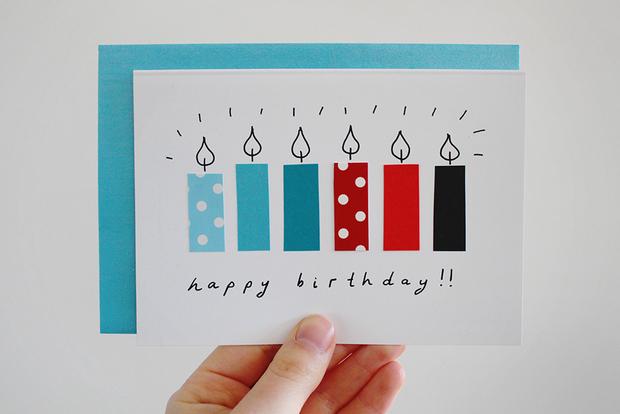 cartão de aniversário caseiro velas