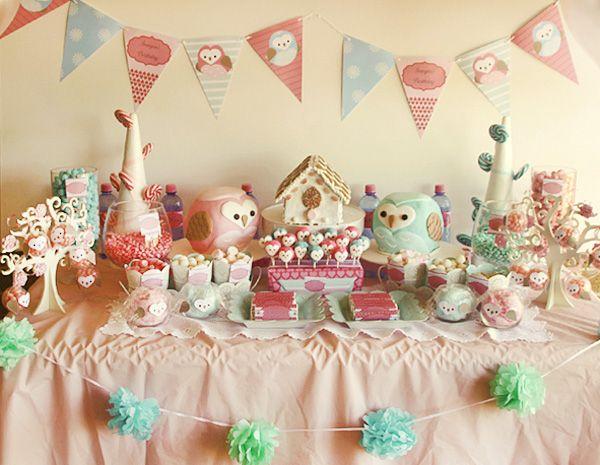 chá de bebê coruja mesa