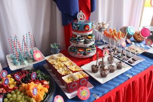 festa infantil vingadores mesa saudável