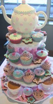 festa infantil chá de bonecas cupcakes