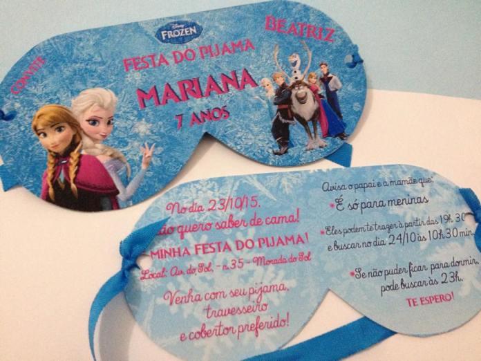 convite festa do pijama frozen