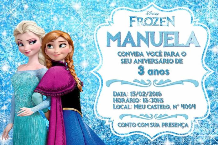 convite virtual festa da frozen