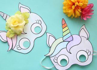 mascara de unicórnio e desenhos para colorir de unicórnio