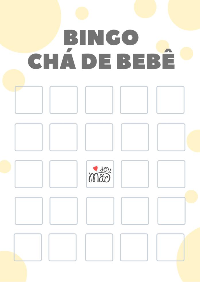 cartela de bingo chá de bebê para imprimir