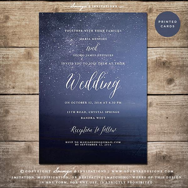 Starry Night Sky Wedding Invitation Galaxy Celestial Astronomy E Cosmos Beach Lake Nautical