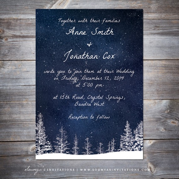 Blue And Yellow Rustic Wedding Invitations