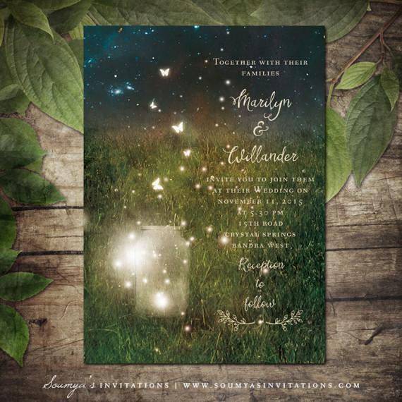 Rustic Garden Lights Wedding Invitation Mason Jar Firefly Summer Invite Enchanted Forest