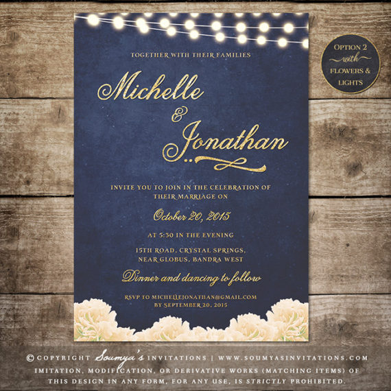 Navy Blue and Gold Wedding Invitation Glitter Wedding Invitation Rustic Chic Floral Wedding