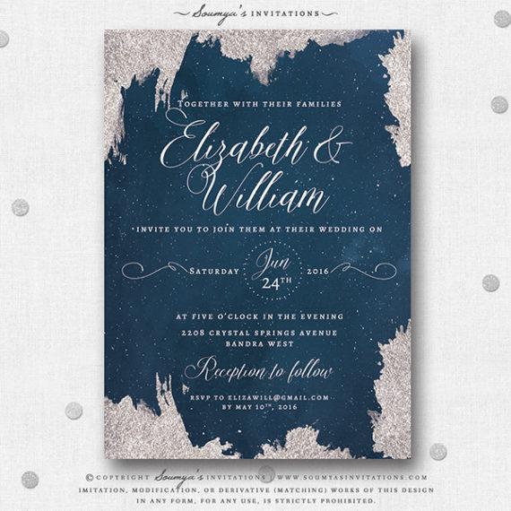 Navy Blue and Silver Star Wedding Invitation