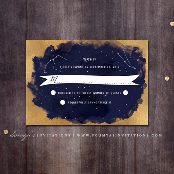 Constellation Wedding Invitation Gold and Navy Wedding Invitation Starry Night Wedding