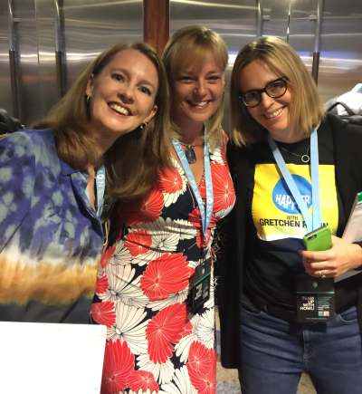 Gretchen, Melissa and Elizabeth at Podcast Movement in Chicago, July 2016