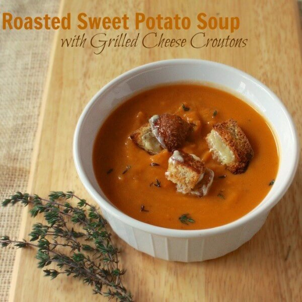 soup with grilled cheese croutons