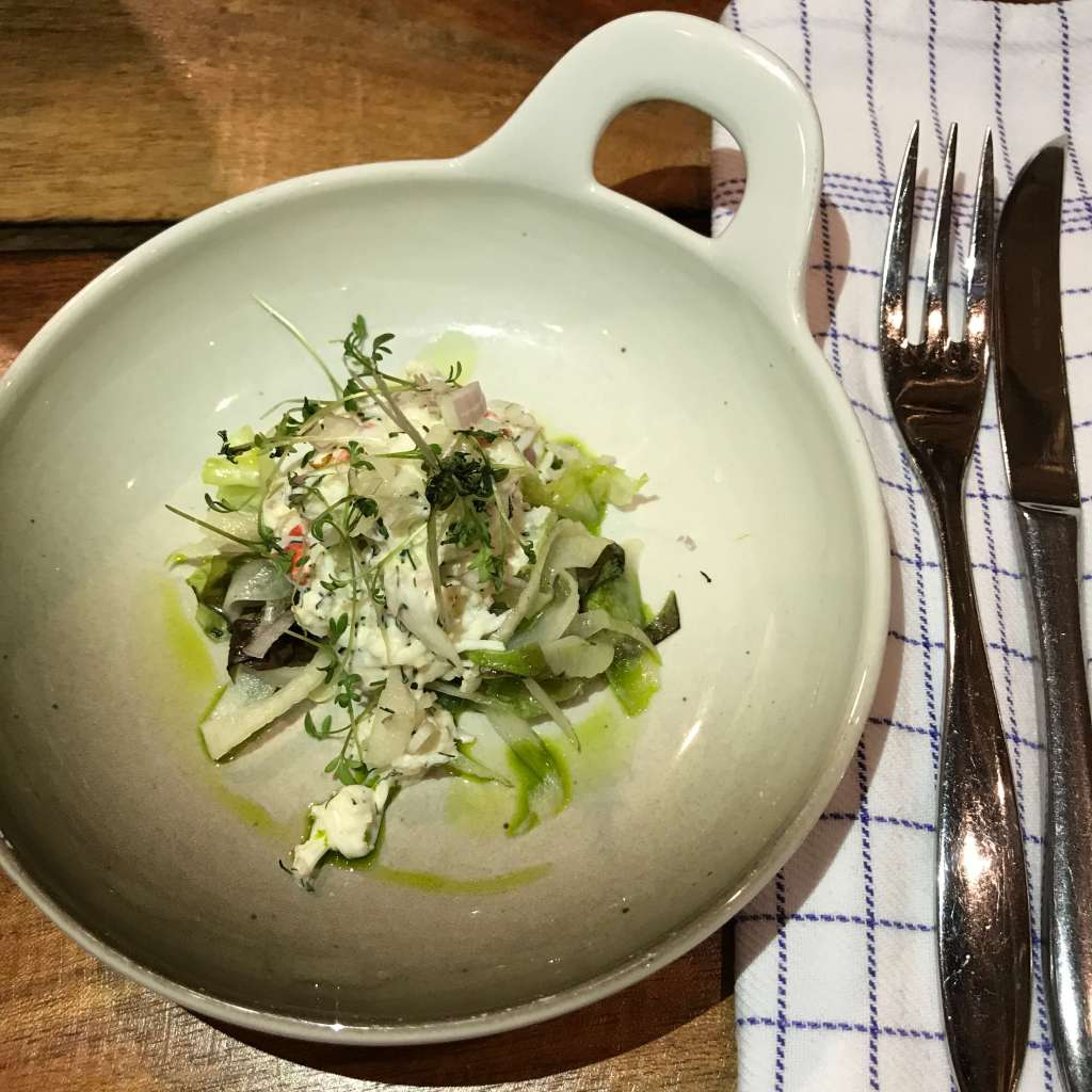 King Crab Salad – fennel, local lollo rosso salad, dill, lemon mayo and cress