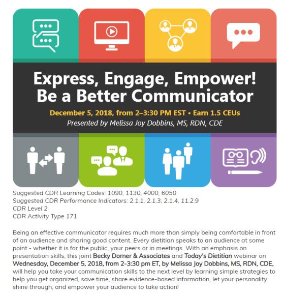 Express Engage Empower Be a Better Communicator Webinar Melissa Joy Dobbins