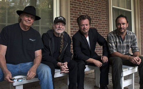 Farm Aid board members: Neil Young, Willie Nelson,  John Mellencamp and Dave Matthews