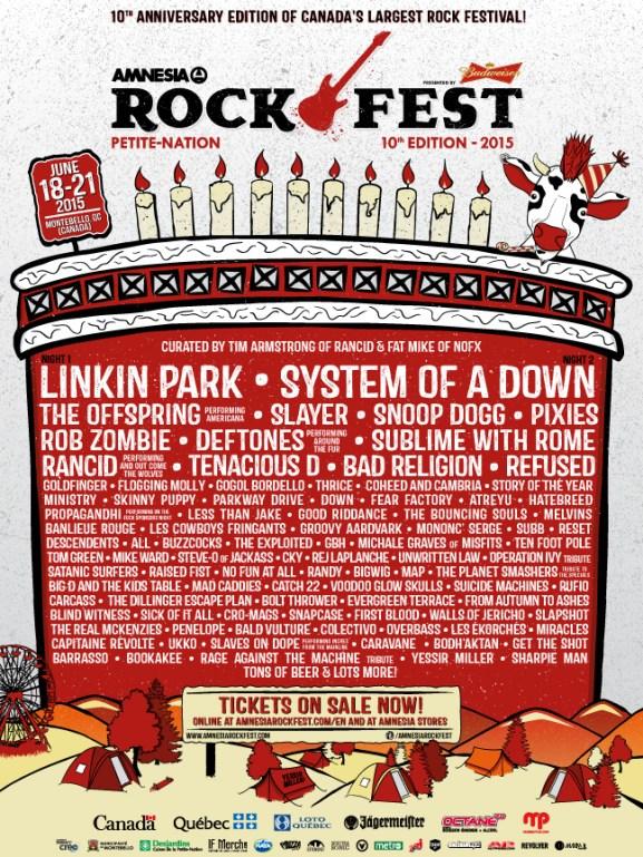 Amnesia Rockfest 2015 Lineup