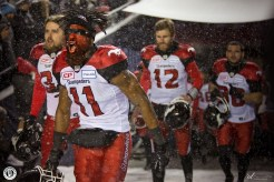 Stampeders players warming up at the 105th Grey Cup in Ottawa photo Renee Doiron