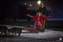 Shania Twain arrives on a dog sled at the Grey Cup Halftime show in Ottawa photo Renee Doiron