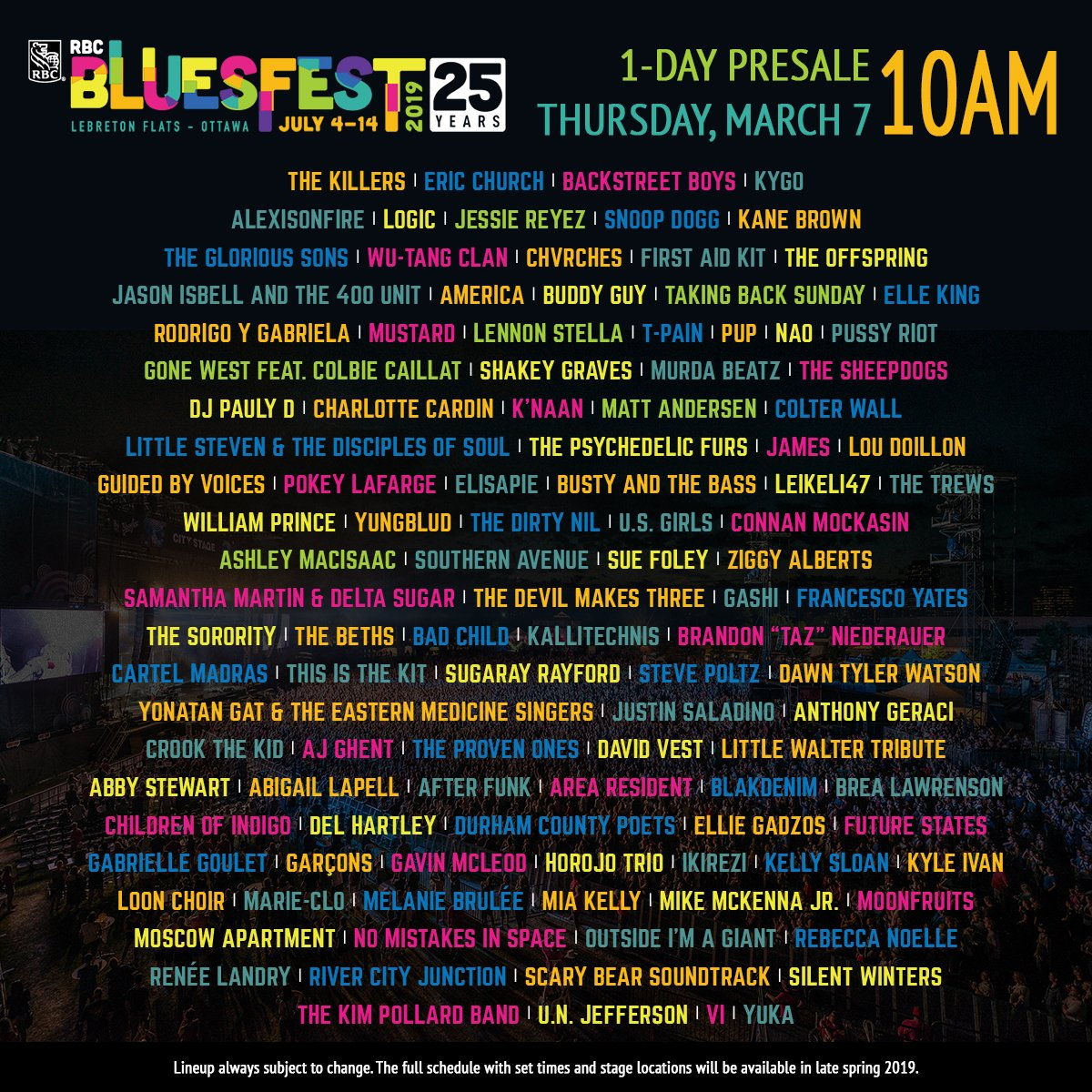 Rbc Bluesfest Announces Long Anticipated 25th Anniversary