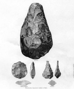 An illustration of the early hand-axes created by Homo Erectus.