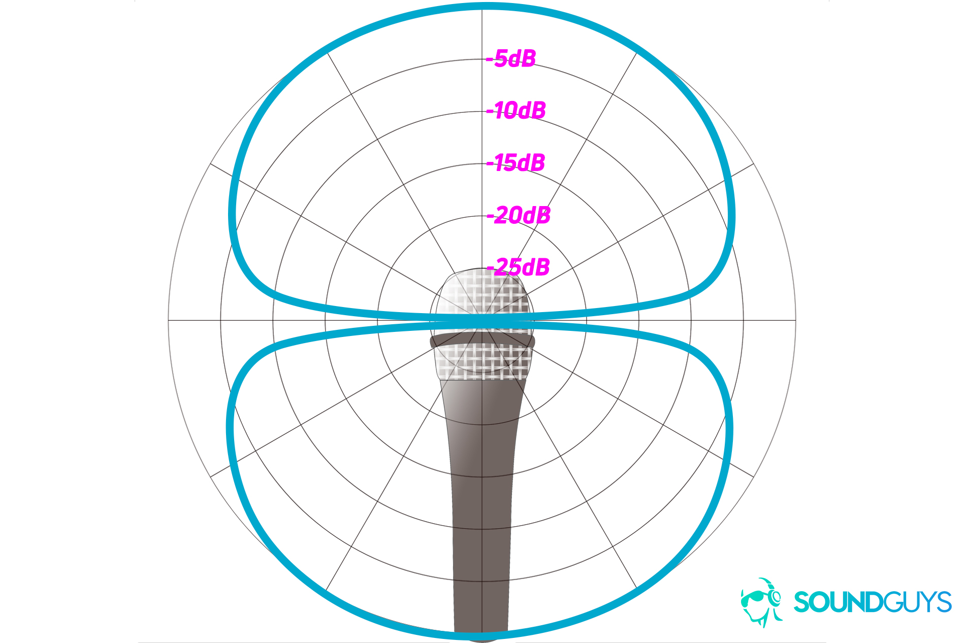 hight resolution of an example of a polar chart detailing the pickup pattern of a bidirectional microphone