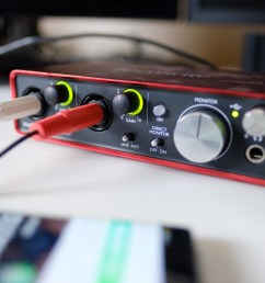 a photo of the scarlett 2i2 audio interface which soundguys used to test current phones [ 2559 x 1440 Pixel ]